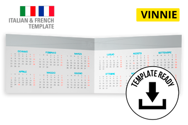 Calendario tascabile 17x5,5 cm: Modelli di template pronti da scaricare e personalizzare: - Vinne Download file Indesign (CC e versioni precedenti) e PDF Alta Risoluzione  Cerchi delle foto da inserire nel calendario? Prova uno dei nostri set fotografici